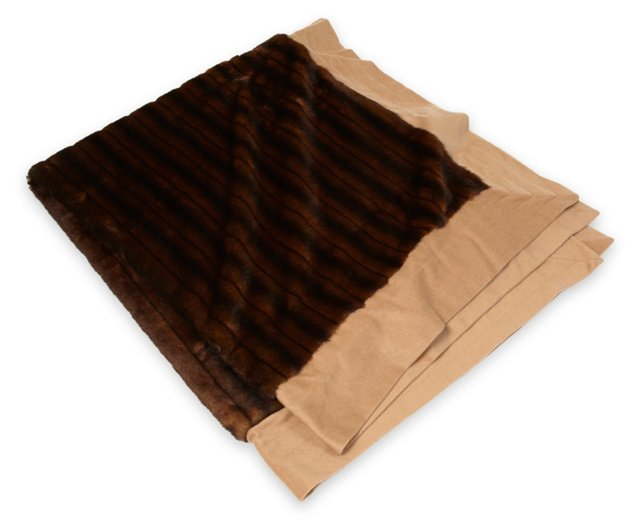 Faux-Mink Throw w/ Camel Trimming
