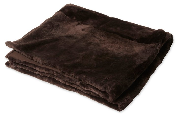 Brown Shearling Throw
