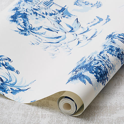 Scenic Toile Wallpaper, Blue