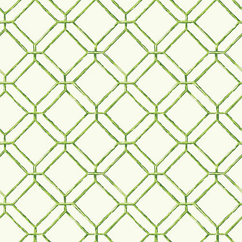 Diamond Bamboo Wallpaper, Green