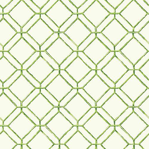 Diamond Bamboo Wallpaper, Green