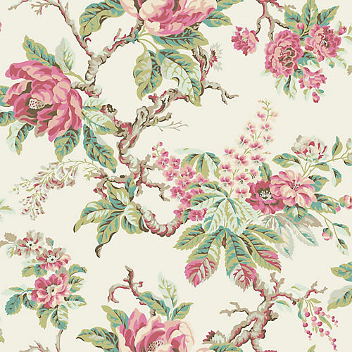 Vintage Garden Wallpaper, Pink/Green