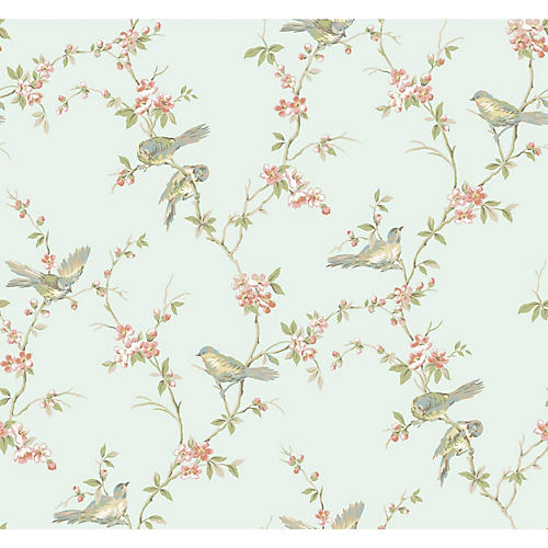 Floral Branches Wallpaper, Light Blue