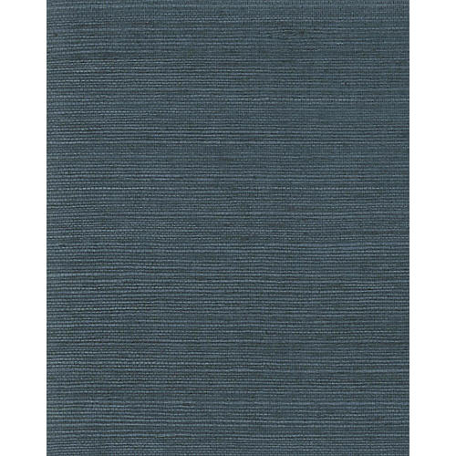 Grass-Cloth Wallpaper, Navy
