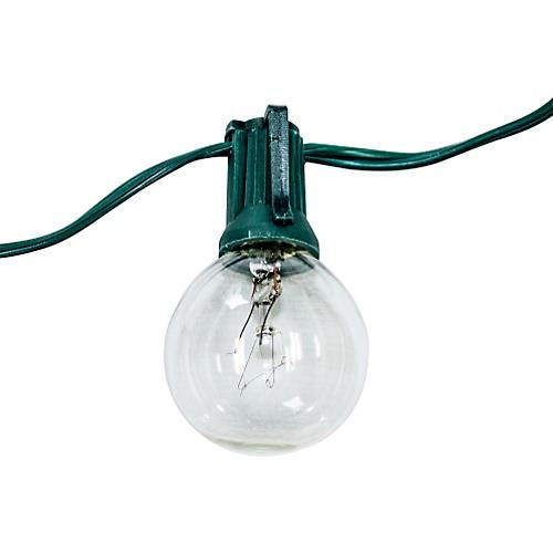 24-Light String Lights, Green Cord