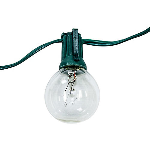 24-Light String Lights, Green Cord