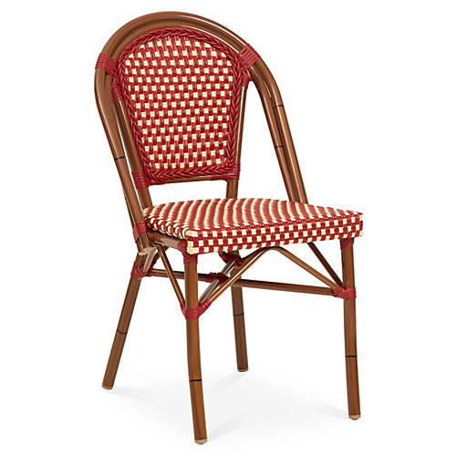 Outdoor Café Bistro Chair, Red/White