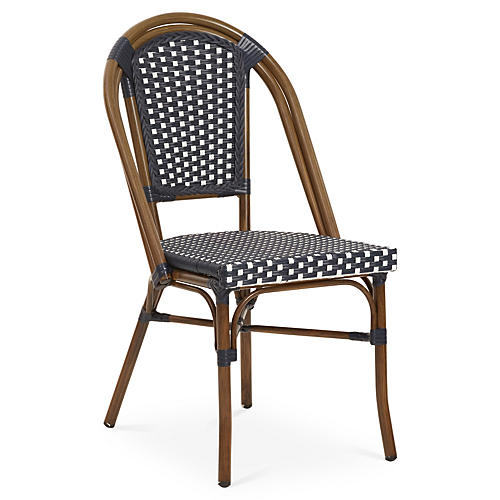 Outdoor Café Bistro Chair, Navy/White