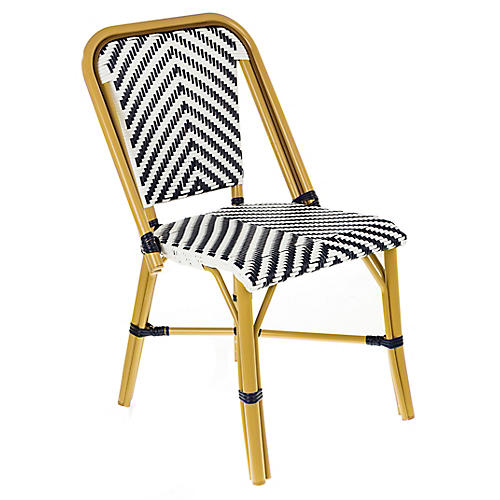 Modern Outdoor Bistro Side Chair, Navy/White