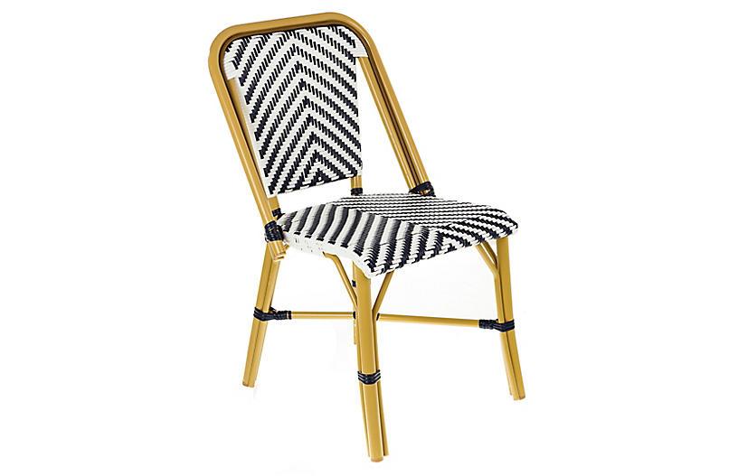 Modern Outdoor Bistro Side Chair, Navy/White