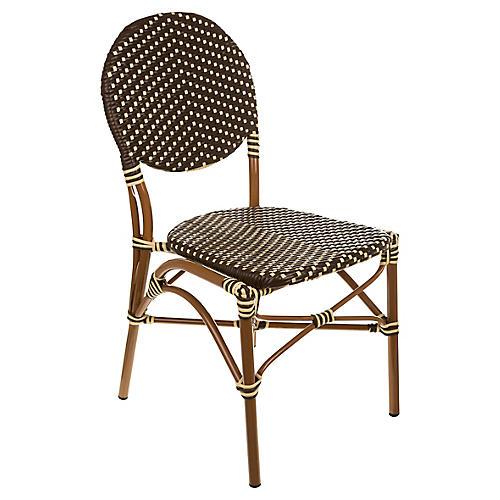 Café Outdoor Bistro Side Chair, Brown/Cream