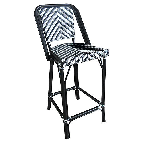 Bistro Outdoor Barstool, Black/White