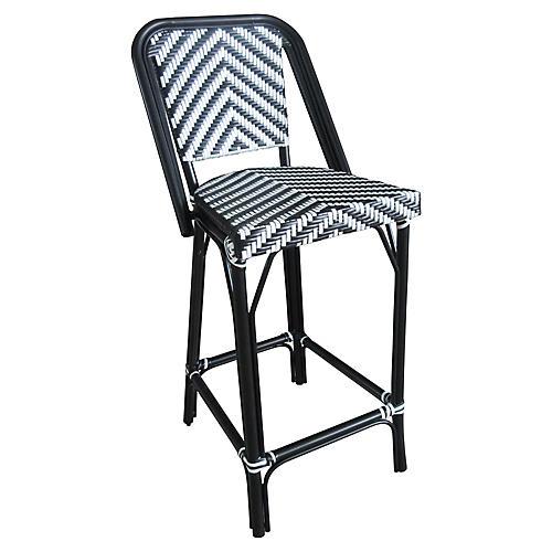 Bistro Outdoor Barstool, Black/White