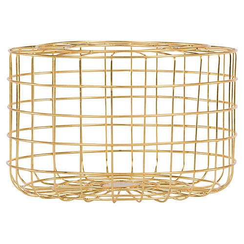 "12"" Grid Basket, Gold"