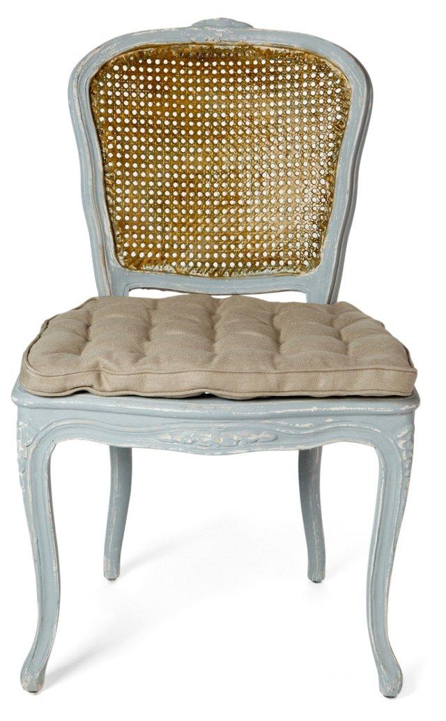 Annette Side Chair, Blue/Beige