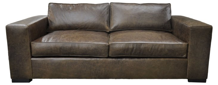 "Harlow 90"" Leather Sofa, Chocolate"