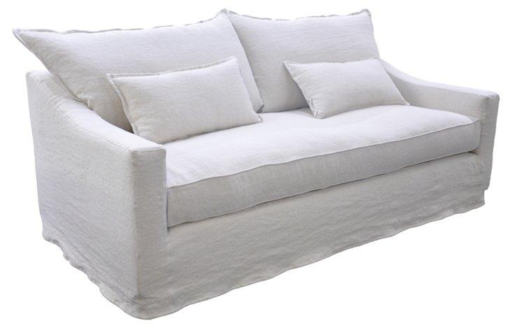 "Darcy 84"" Linen Slipcover Sofa, White"
