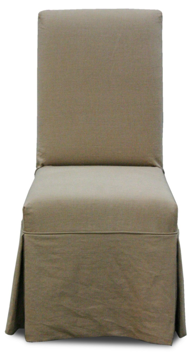 Sutton Linen Side Chair, Tan