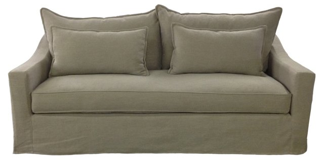 "Darcy 84"" Linen Sofa, Taupe"