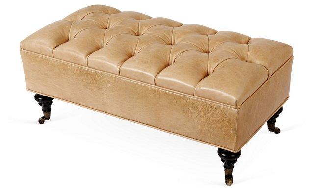 "Jana 40"" Tufted Leather Bench, Cream"
