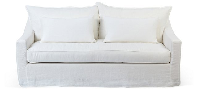 "Darcy 84"" Linen Sofa, Oyster"