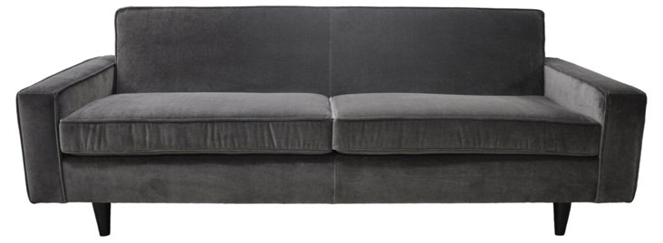 """Ashton 84"""" Velvet Sofa, Charcoal"""