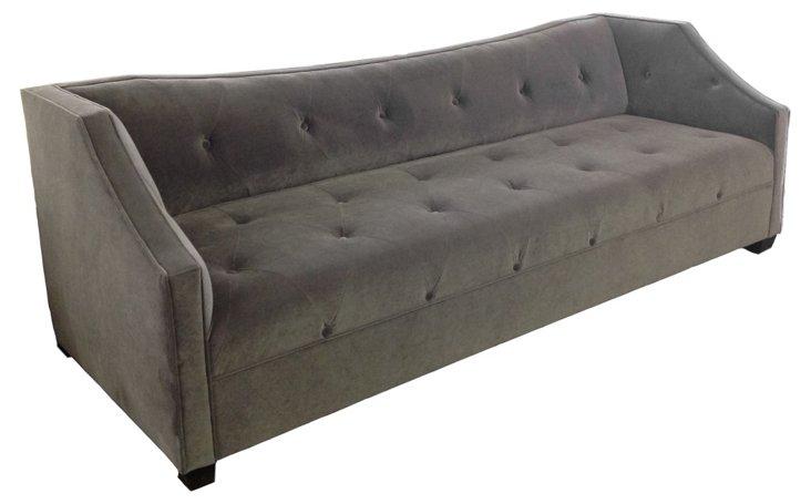 Ava Tufted Velvet Sofa, Dark Gray