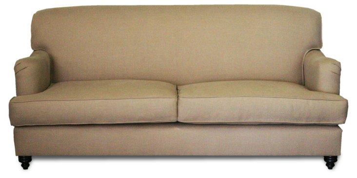 "Georgetown 84"" Linen Sofa, Champagne"
