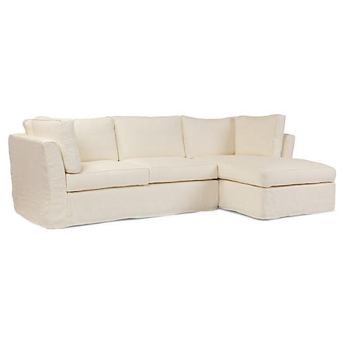 Chelsea Linen Sectional, Oyster