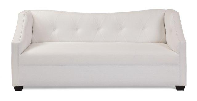 """Anna 76"""" Linen Sofa, White"""