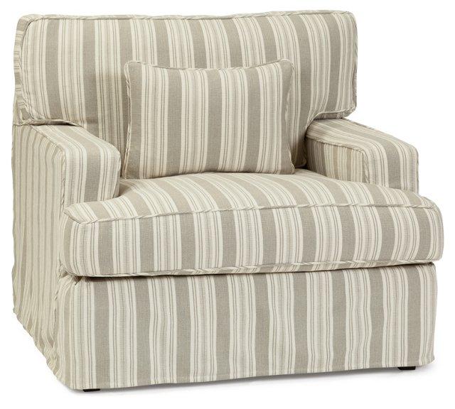 Finley Striped Club Chair, Gray