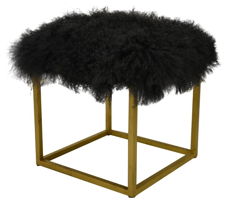 Block Sheepskin Ottoman, Dark Gray