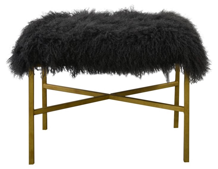 "Krosbar 24"" Sheepskin Bench, Dark Gray"