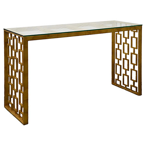 "Prism 50"" Console Table, Gold"