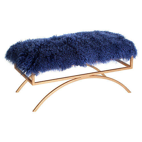 Troy Sheepskin Bench, Blue