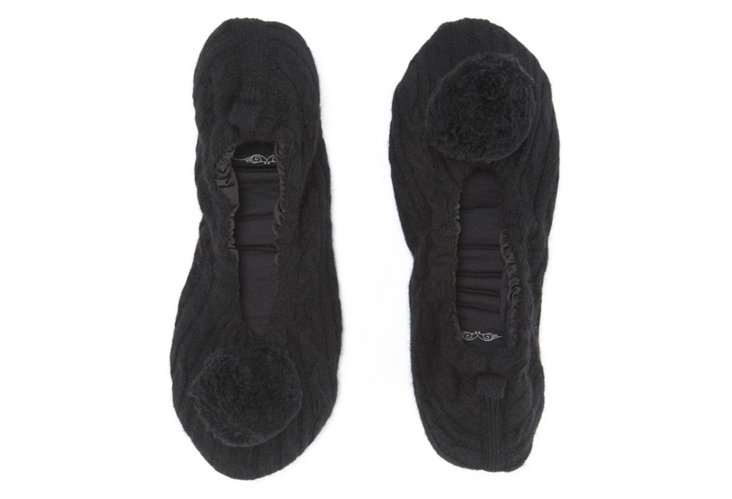 Cashmere Pom-Pom Slippers, Black