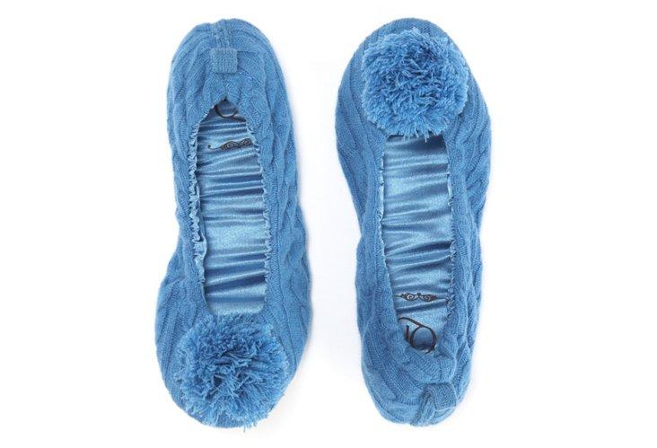 Cashmere Pom-Pom Slippers, Solar Blue