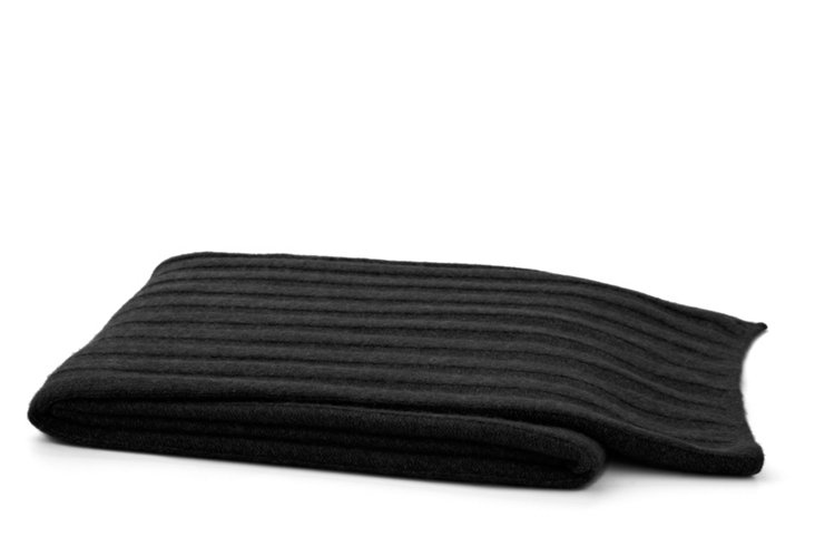 Cashmere Ribbed Throw, Black