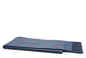 Wool Plaid Throw, Heather Navy/ Orange