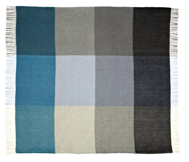 Color-Block Cashmere Throw, Teal