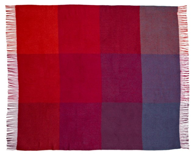 Color-Block Cashmere Throw, Wine