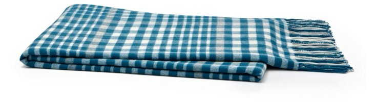 Boxed-In Cashmere Throw, Teal/Smoke