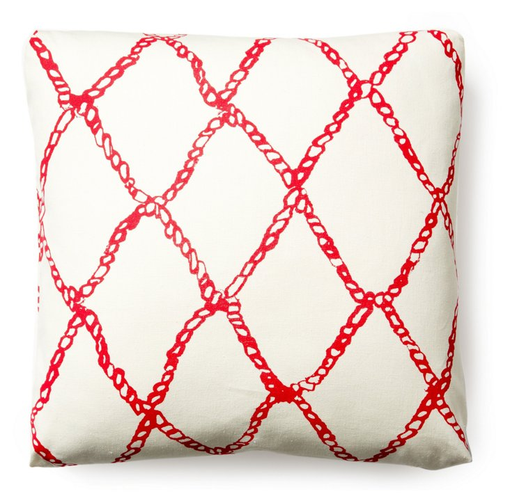 Fishermen's Net 20x20 Pillow, Hibiscus