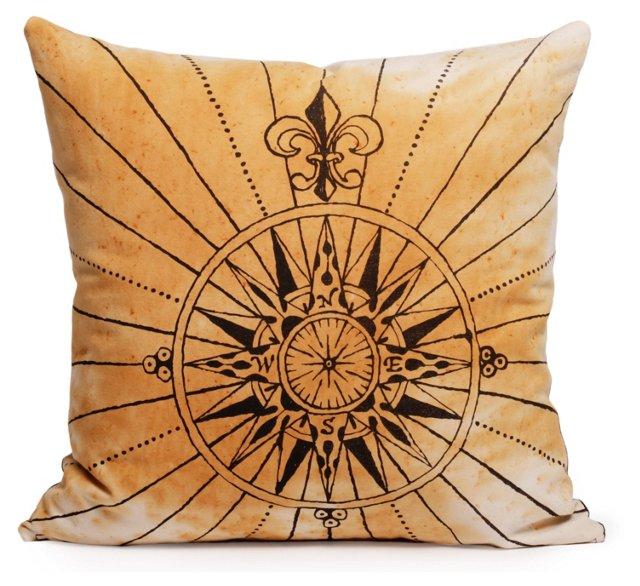 Compass 20x20 Cotton-Blend Pillow, Rust