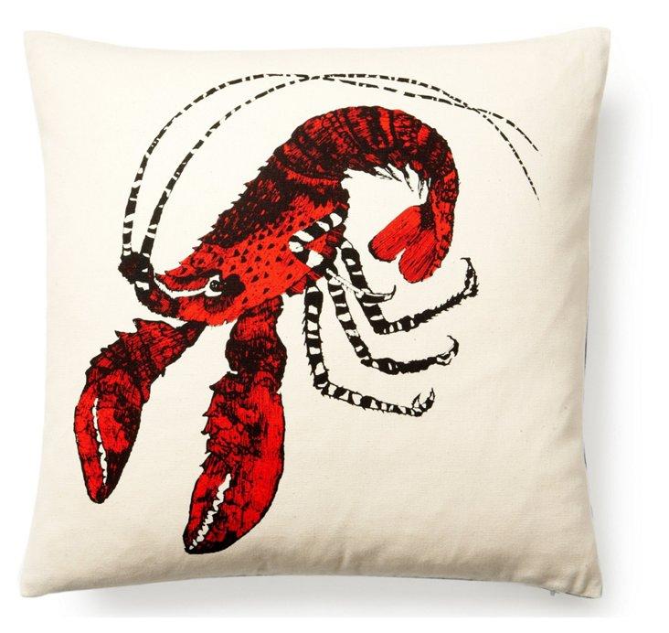 Lobster 17x17 Pillow, Poppy