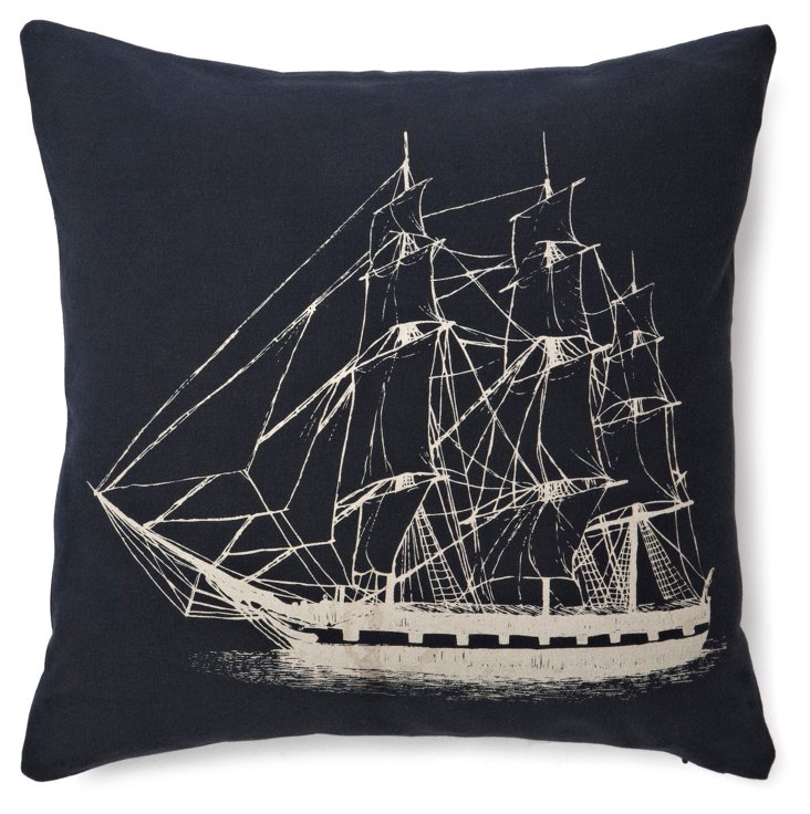 Ship 17x17 Cotton-Blend Pillow, Navy