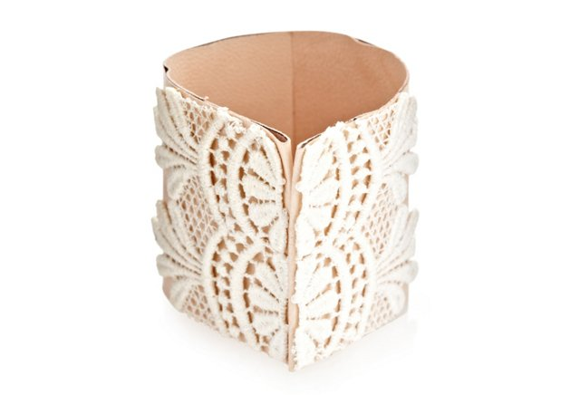 Lace and Leather Cuff, Nude