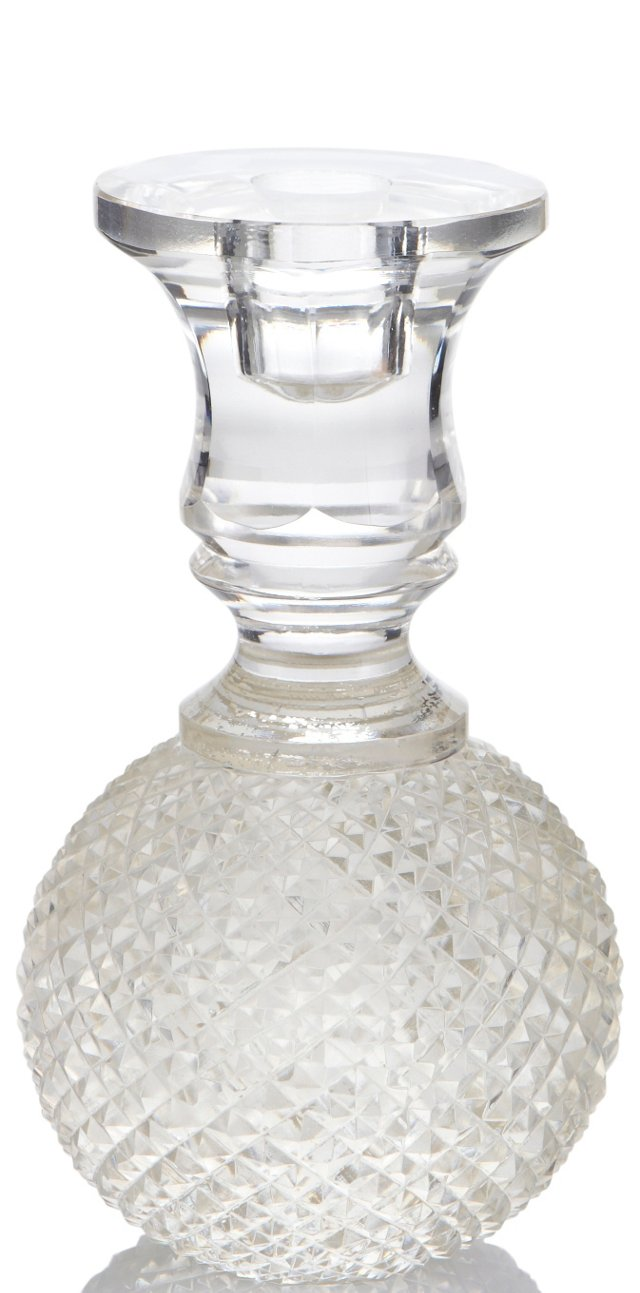 Glass Orb Diamond-Cut Candlestick, Small