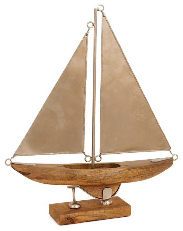 "21"" Wood & Metal Sailboat, Brown/Silver"