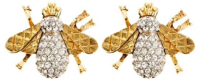 Crystal Bee Clip-On Earrings, Gold